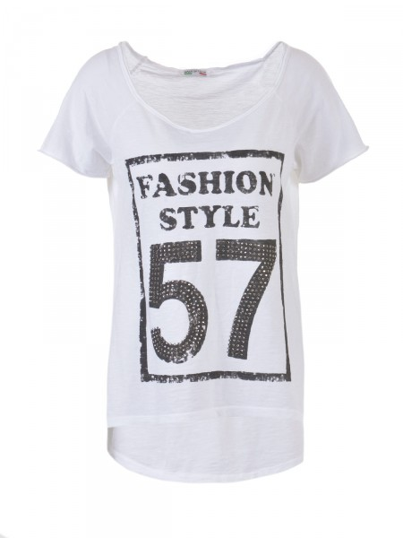 D&F FASHION Damen T-Shirt, weiß