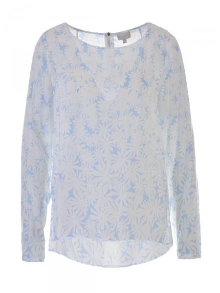 MILANO ITALY Damen Bluse, hellblau-weiß
