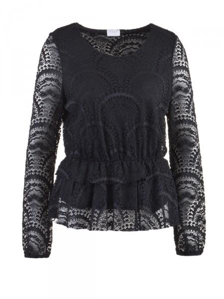 VILA Damen Shirt, schwarz