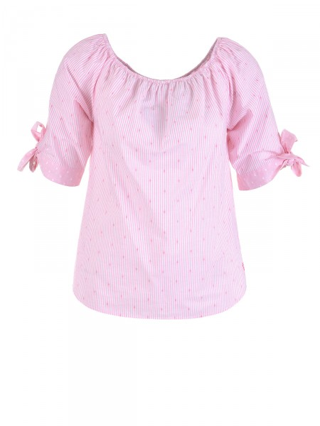 MILANO ITALY Damen Bluse, rosa-weiß