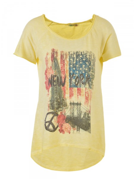 D&F FASHION Damen T-Shirt, gelb-blau