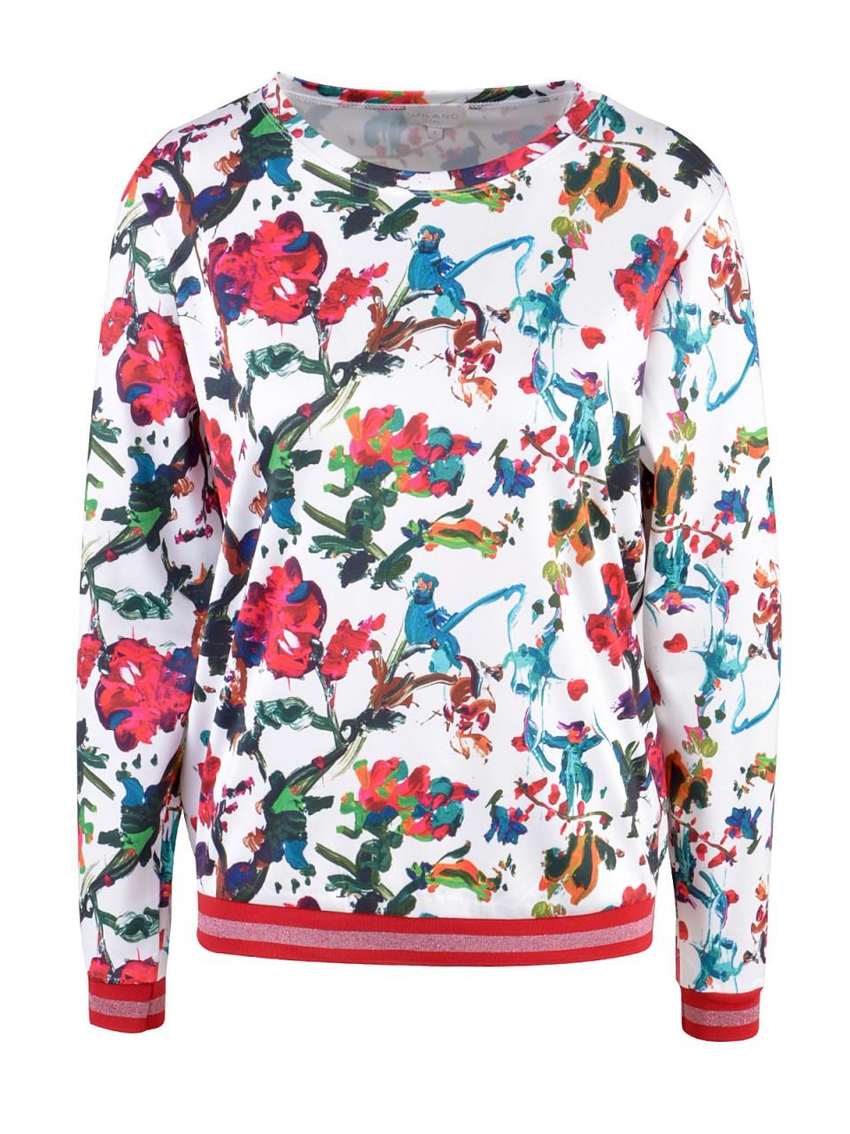 Oberteile - MILANO ITALY Damen Sweatshirt, weiß  - Onlineshop Designermode.com