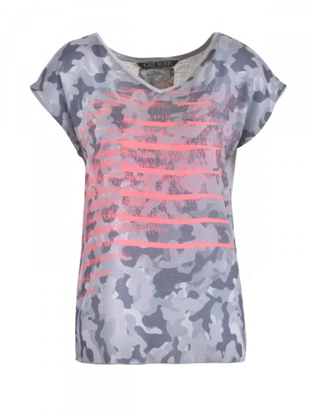 CAT NOIR Damen T-Shirt, grau