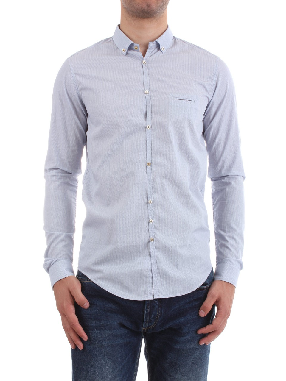 "AGLINI Herren Hemd ""Guilio"", weiß-blau"