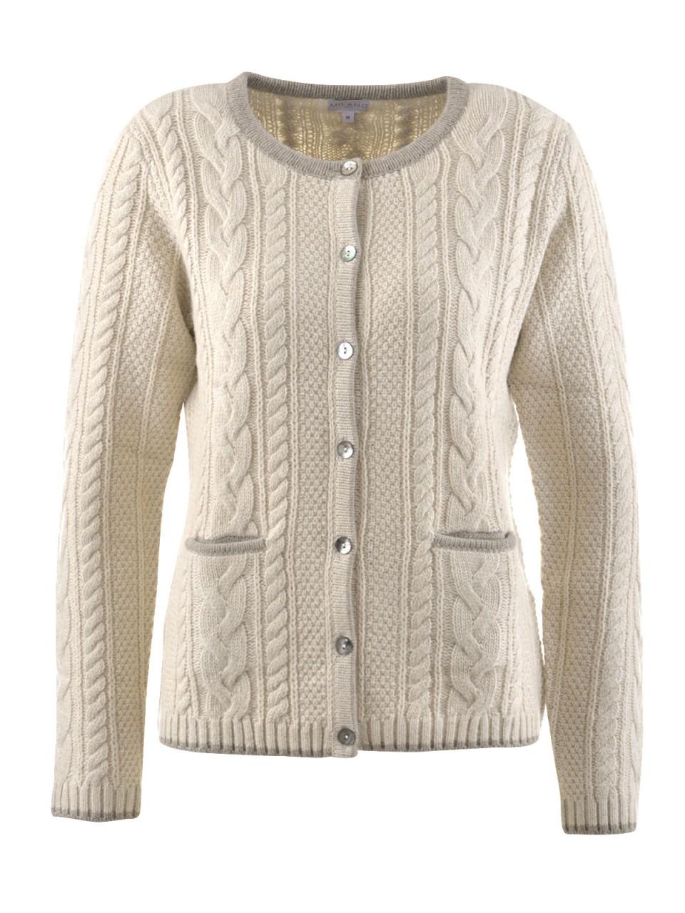 Jacken - MILANO ITALY Damen Strickjacke, beige  - Onlineshop Designermode.com