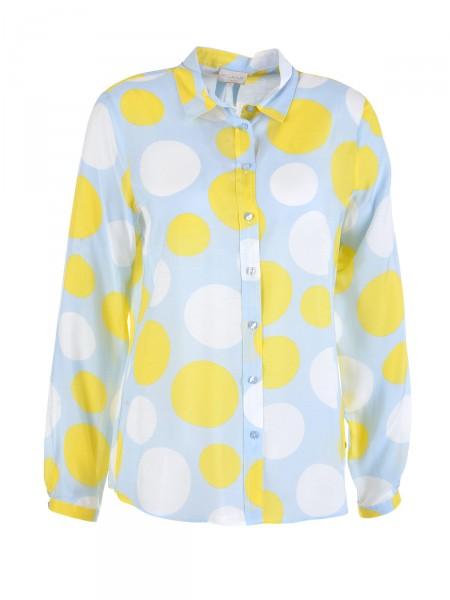 MILANO ITALY Damen Bluse, gelb-weiß