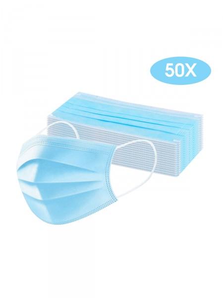 50x Mund Nasen Maske 3-lagig, blau
