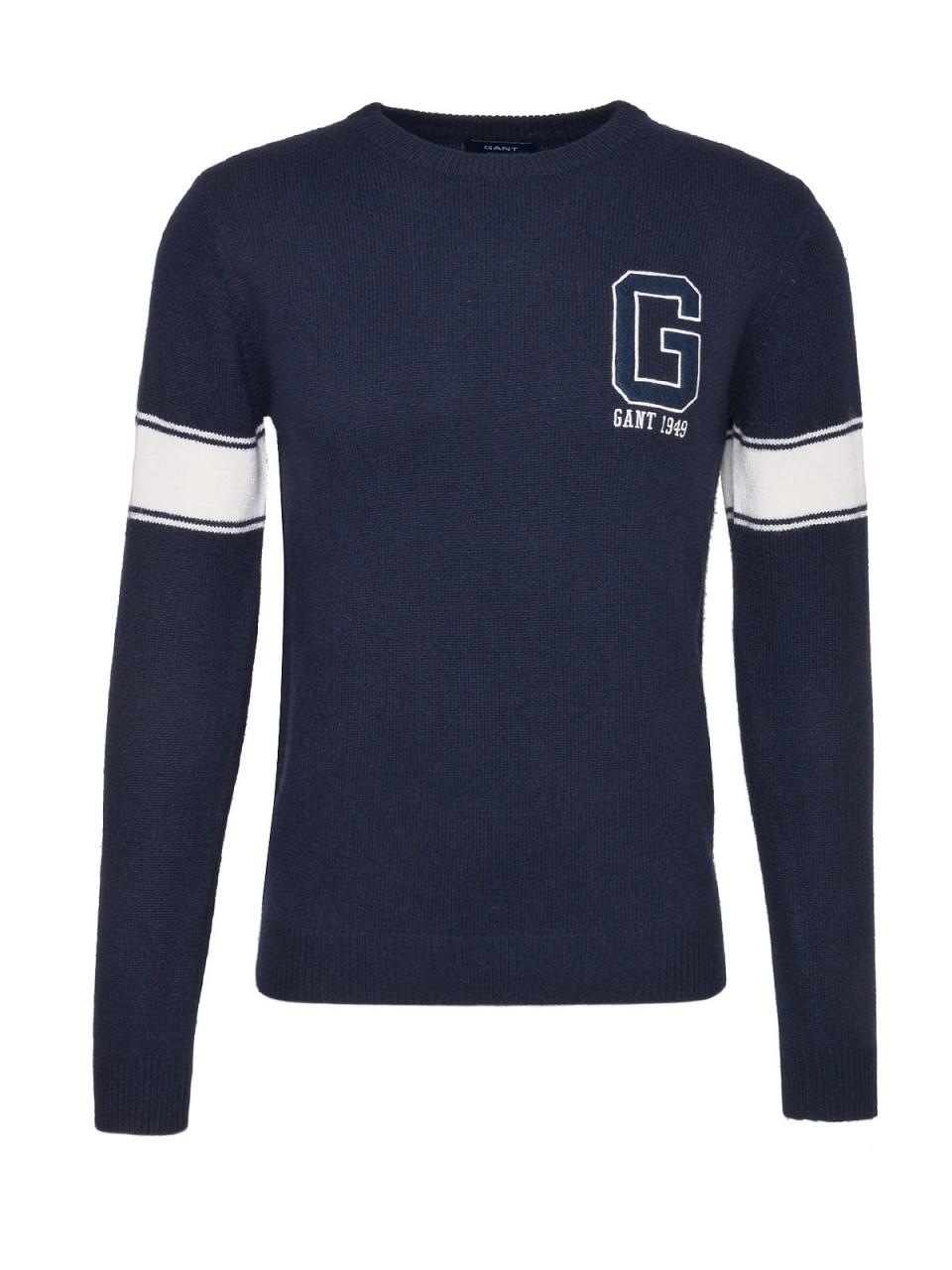 GANT Herren Pullover Chest G Wool, navy