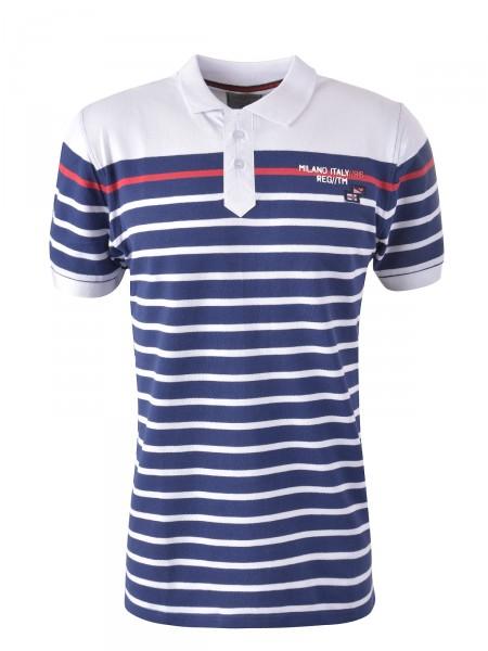 MILANO ITALY Herren Poloshirt, dunkelblau-weiß