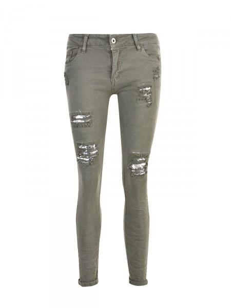 MELLY & CO Damen Jeans, grün