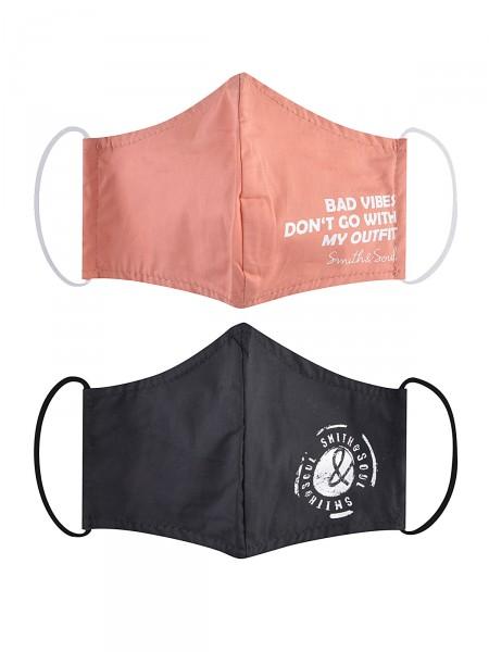 2 Pack Gesichtsmaske aus Stoff, rosé / schwarz