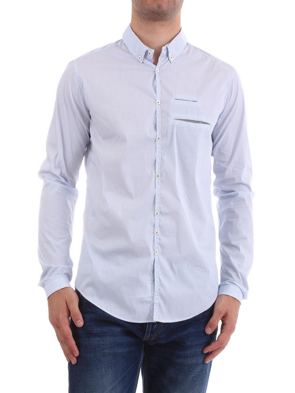 "AGLINI Herren Hemd ""Marino"", weiß-blau gestreift"