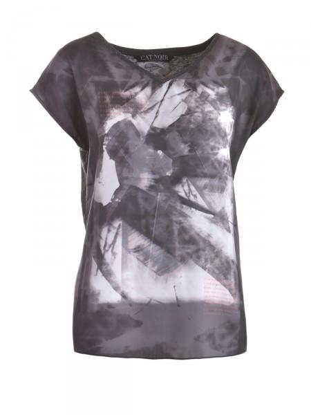 CAT NOIR Damen T-Shirt, anthrazit-grau