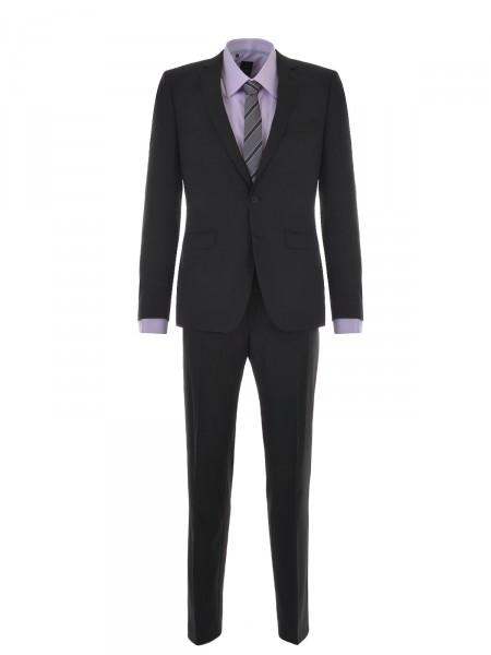 """MILANO ITALY Anzug """"Royal"""" Modern-Fit Schurwolle, schwarz"""