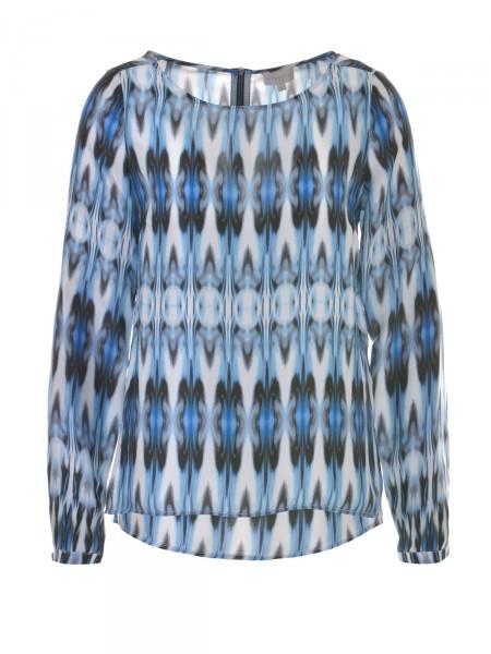 MILANO ITALY Damen Bluse reine Seide, schwarz-blau