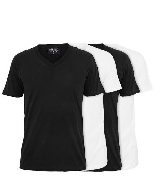 MILANO ITALY T-Shirts 4er-Pack, V-Neck, schwarz-weiß