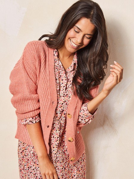 HEARTKISS Damen Strickjacke, rosa