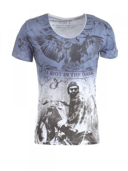 KEY LARGO Herren T-Shirt, blau-weiß
