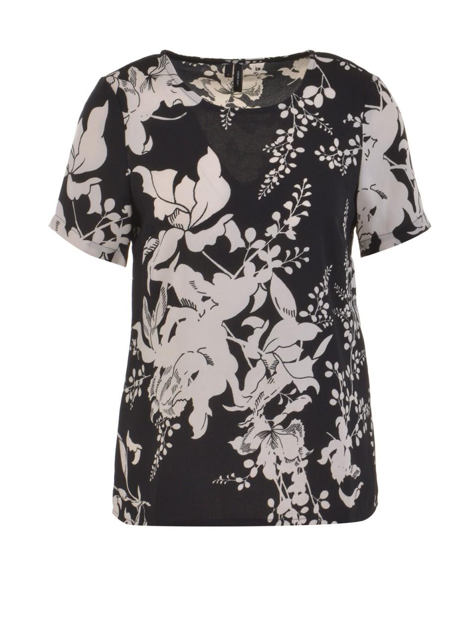 vero-moda-damen-t-shirt-kana-schwarz-creme, 15.99 EUR @ designermode-com-mode