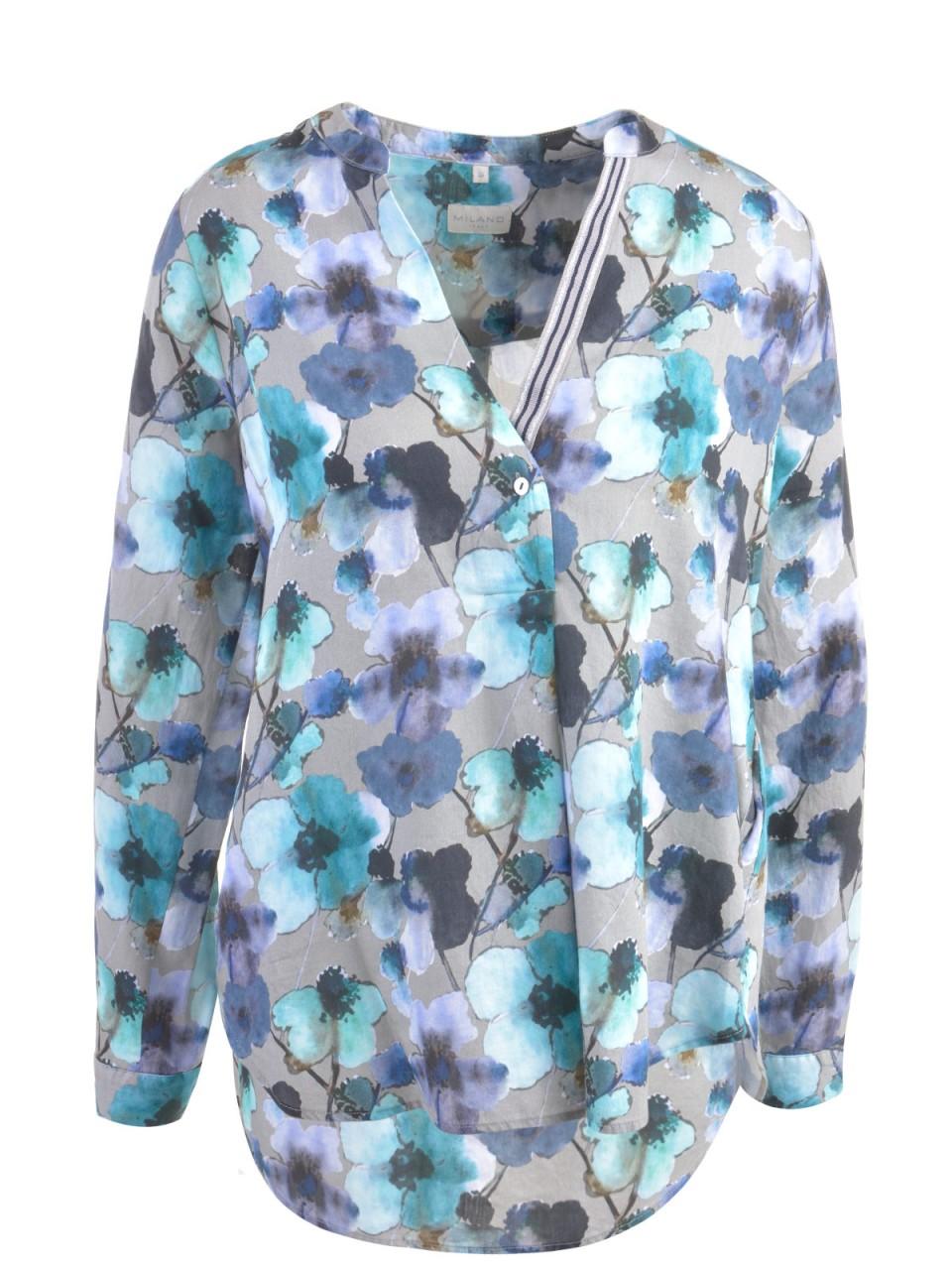 Oberteile - MILANO ITALY Damen Bluse, grau türkis  - Onlineshop Designermode.com