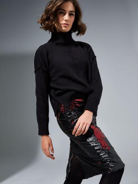 MILANO ITALY Damen Rollkragenpullover, schwarz