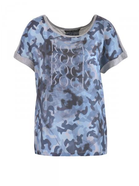 CAT NOIR Damen T-Shirt, blau-grau