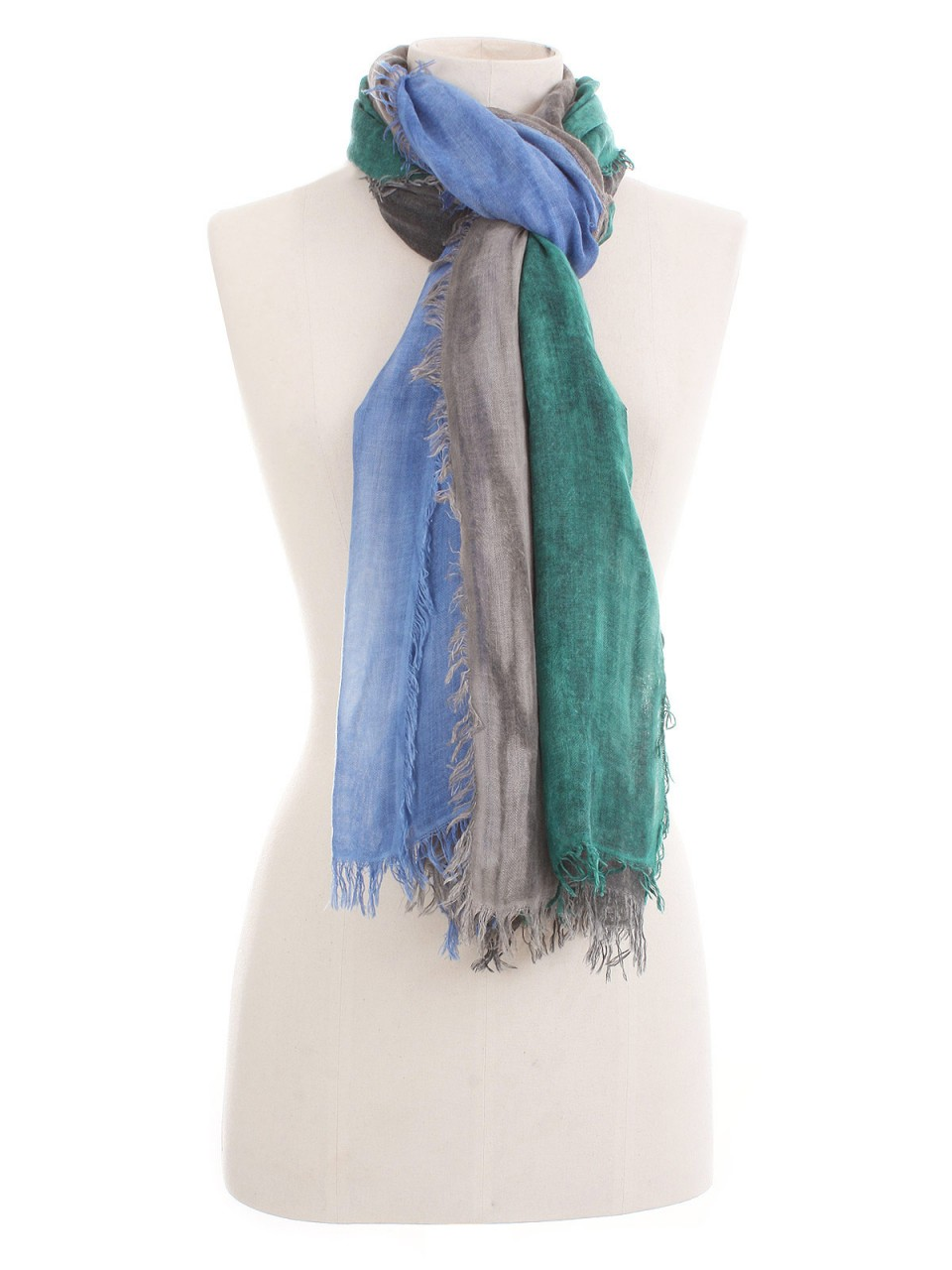 365 ITALY Damen Tuch mit Kaschmir, grau-grün-blau