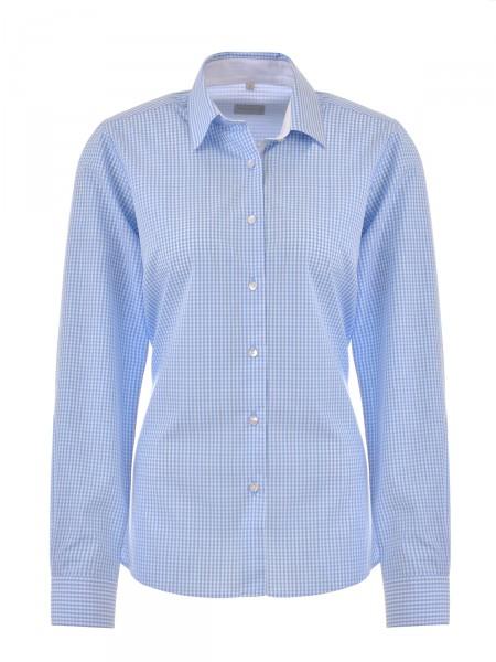 MILANO ITALY Damen Bluse, blau-weiß kariert