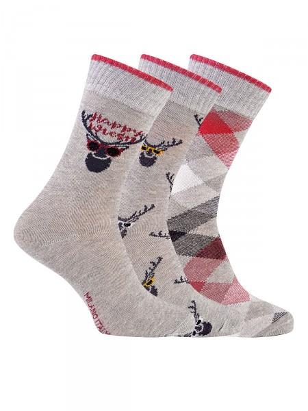 MILANO ITALY Socken im 3er Pack, grau