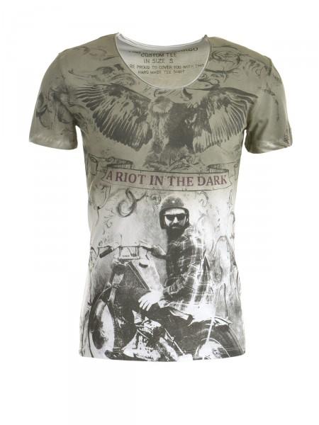 KEY LARGO Herren T-Shirt, oliv-weiß